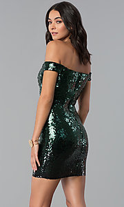 Image of green and black Emerald Sundae holiday party dress. Style: EM-FRF-3496-306 Back Image