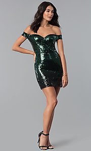 Image of green and black Emerald Sundae holiday party dress. Style: EM-FRF-3496-306 Detail Image 1