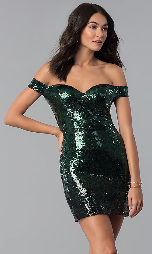 Image of green and black Emerald Sundae holiday party dress. Style: EM-FRF-3496-306 Front Image