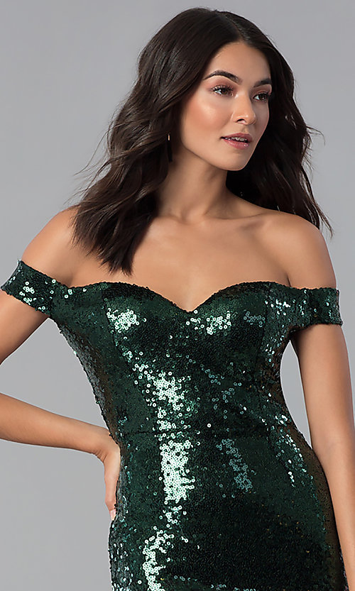 Image of green and black Emerald Sundae holiday party dress. Style: EM-FRF-3496-306 Detail Image 2