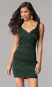 Image of hunter green short bandage cocktail party dress. Style: EM-DBQ-1003-304 Front Image
