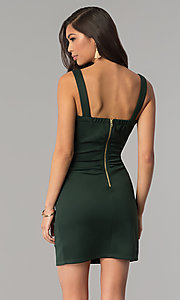Image of hunter green short bandage cocktail party dress. Style: EM-DBQ-1003-304 Back Image