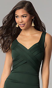 Image of hunter green short bandage cocktail party dress. Style: EM-DBQ-1003-304 Detail Image 1