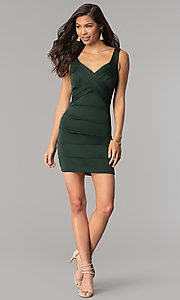 Image of hunter green short bandage cocktail party dress. Style: EM-DBQ-1003-304 Detail Image 2