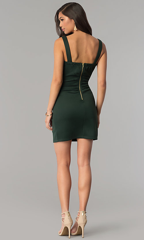 Image of hunter green short bandage cocktail party dress. Style: EM-DBQ-1003-304 Detail Image 3
