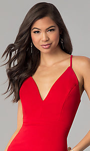 Image of red short v-neck cocktail party dress. Style: EM-FRI-3405-600 Detail Image 1