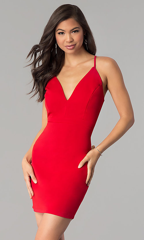Image of red short v-neck cocktail party dress. Style: EM-FRI-3405-600 Back Image