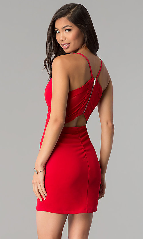 Image of red short v-neck cocktail party dress. Style: EM-FRI-3405-600 Front Image