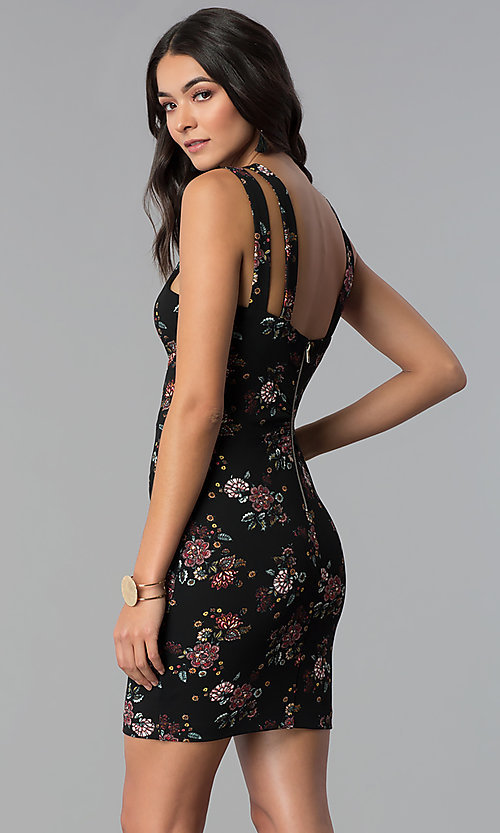 Image of short black floral-print racer-front party dress. Style: EM-FFG-3413-029 Back Image
