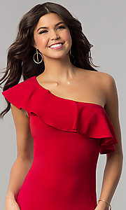 Image of one-shoulder short red holiday dress with ruffle. Style: BLU-8726 Detail Image 1