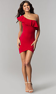 Image of one-shoulder short red holiday dress with ruffle. Style: BLU-8726 Detail Image 2