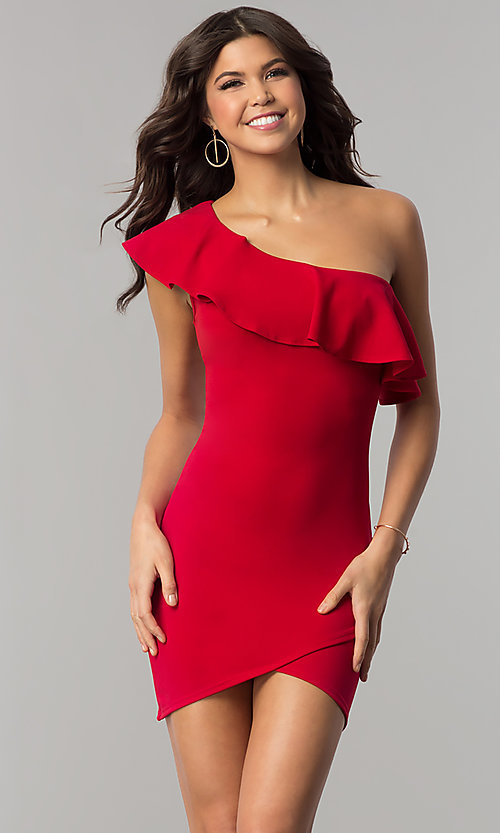 Image of one-shoulder short red holiday dress with ruffle. Style: BLU-8726 Front Image