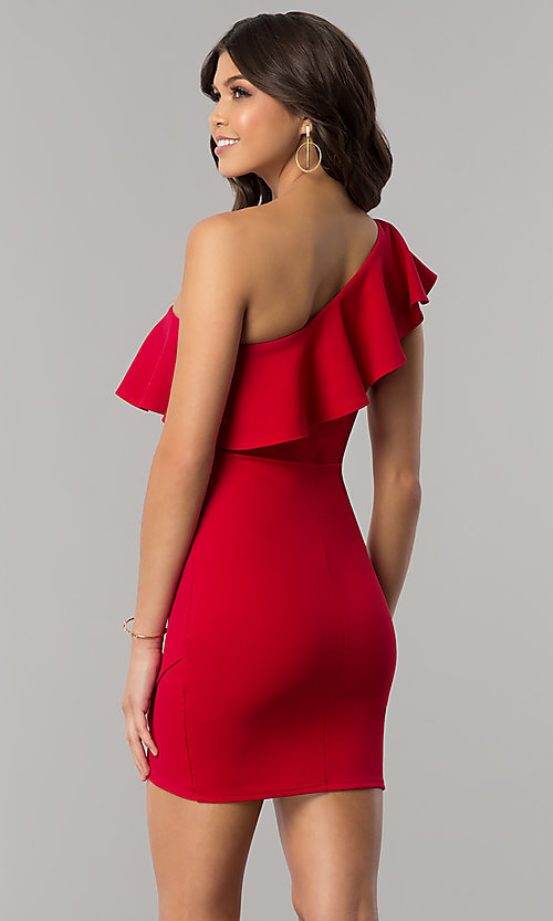 Image of one-shoulder short red holiday dress with ruffle. Style: BLU-8726 Back Image