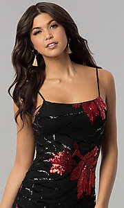 Image of red and black sequin short holiday party dress. Style: BLU-BD8729 Detail Image 1