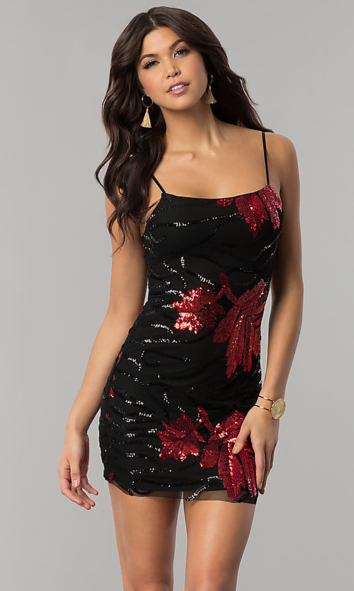 Image of red and black sequin short holiday party dress. Style: BLU-BD8729 Front Image