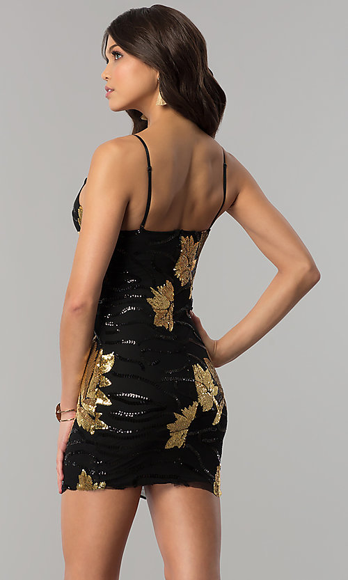 Image of short black bodycon party dress with gold sequins. Style: BLU-BD8729-G Back Image