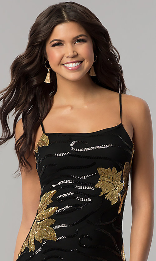 Image of short black bodycon party dress with gold sequins. Style: BLU-BD8729-G Detail Image 1
