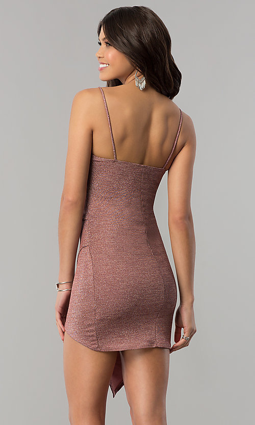 Image of metallic-jersey faux-wrap short holiday party dress. Style: BLU-BD8110-16 Back Image