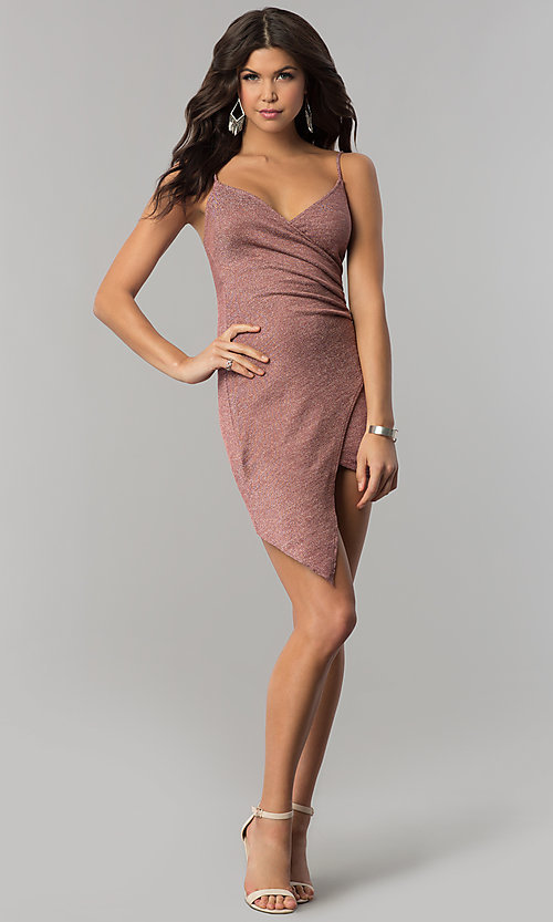 Image of metallic-jersey faux-wrap short holiday party dress. Style: BLU-BD8110-16 Detail Image 2