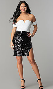 Image of short off-the-shoulder sequin party dress. Style: JTM-JMD7178 Detail Image 3