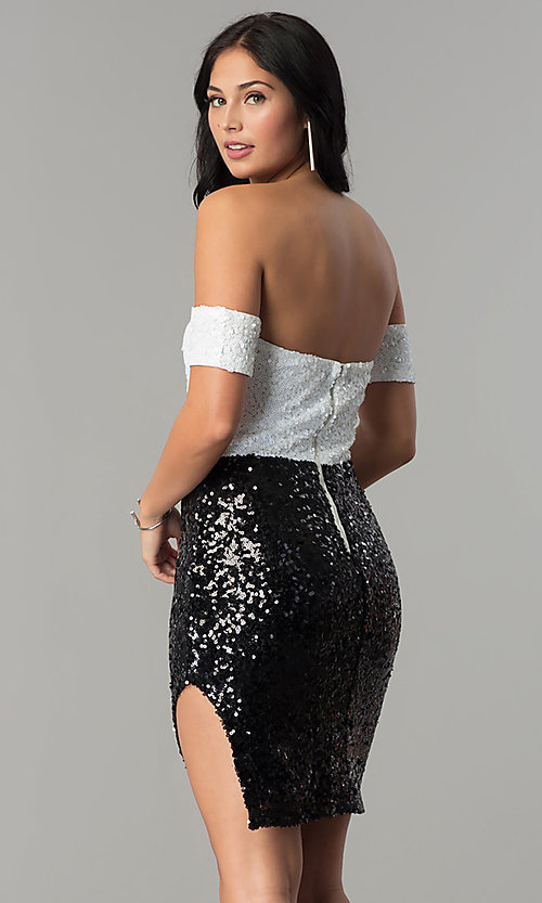 Image of short off-the-shoulder sequin party dress. Style: JTM-JMD7178 Back Image