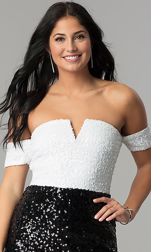 Image of short off-the-shoulder sequin party dress. Style: JTM-JMD7178 Detail Image 2