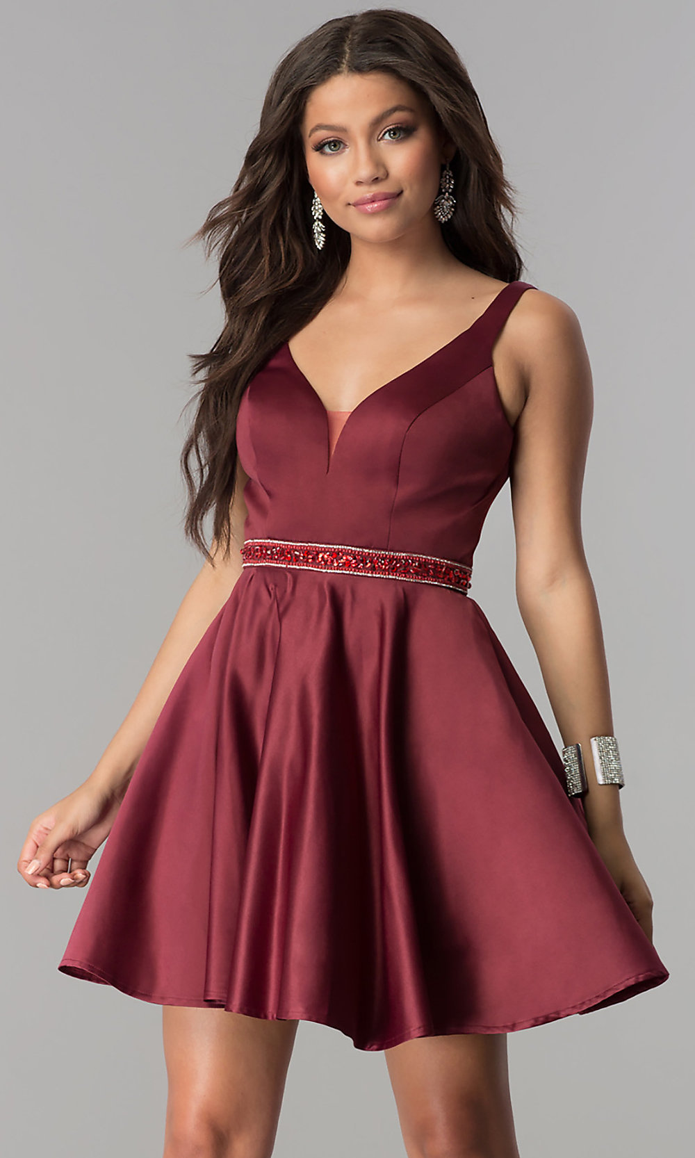 Burgundy Red Short Satin Homecoming Party Dress