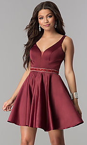 Image of short burgundy red satin homecoming party dress. Style: DQ-2149 Front Image