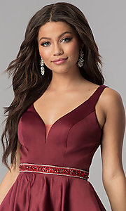 Image of short burgundy red satin homecoming party dress. Style: DQ-2149 Detail Image 1