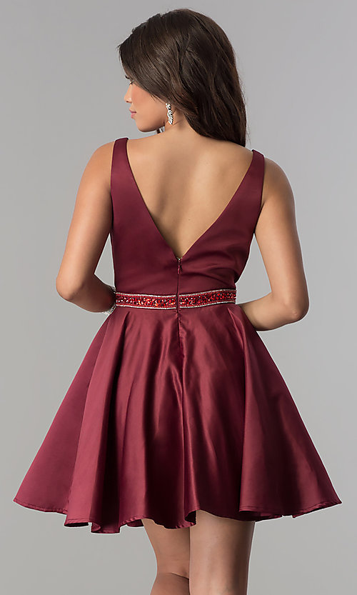 Image of short burgundy red satin homecoming party dress. Style: DQ-2149 Back Image