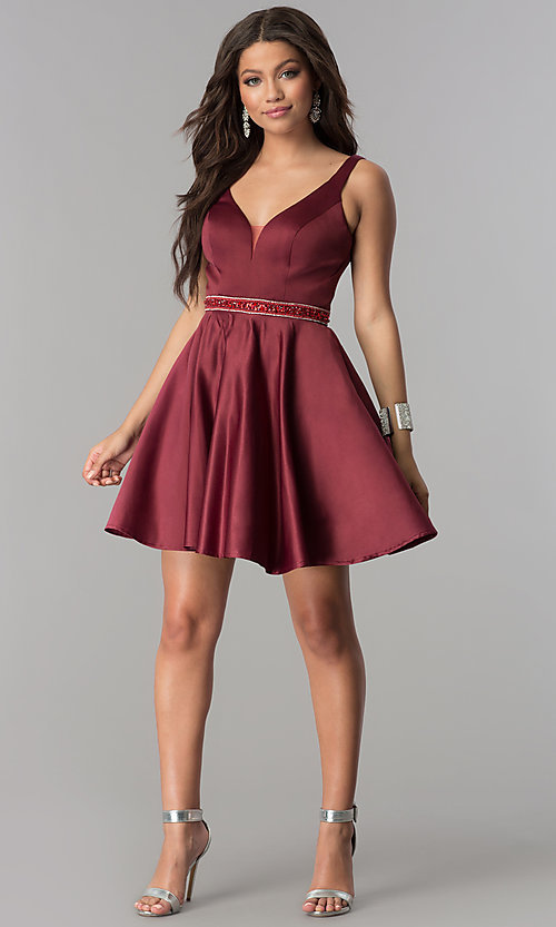 Image of short burgundy red satin homecoming party dress. Style: DQ-2149 Detail Image 2