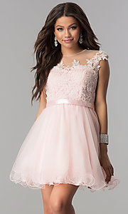 Image of short tulle lace-applique-bodice homecoming dress. Style: DQ-2153 Detail Image 2