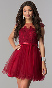 Image of short tulle lace-applique-bodice homecoming dress. Style: DQ-2153 Front Image
