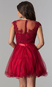 Image of short tulle lace-applique-bodice homecoming dress. Style: DQ-2153 Back Image