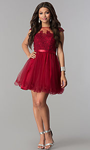 Image of short tulle lace-applique-bodice homecoming dress. Style: DQ-2153 Detail Image 1