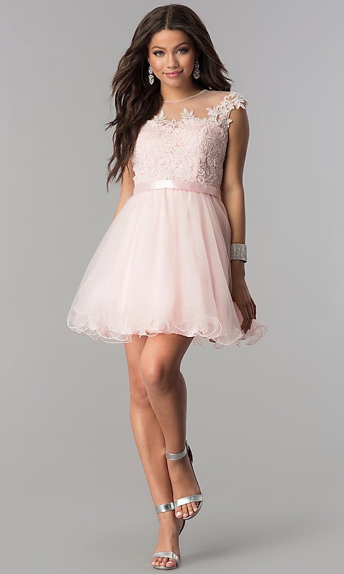 Image of short tulle lace-applique-bodice homecoming dress. Style: DQ-2153 Detail Image 3