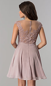 Image of mocha short chiffon prom dress with lace applique. Style: DQ-2175 Back Image