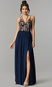 Image of long navy chiffon prom dress with flocked bodice. Style: CT-8102GE3ATP Front Image