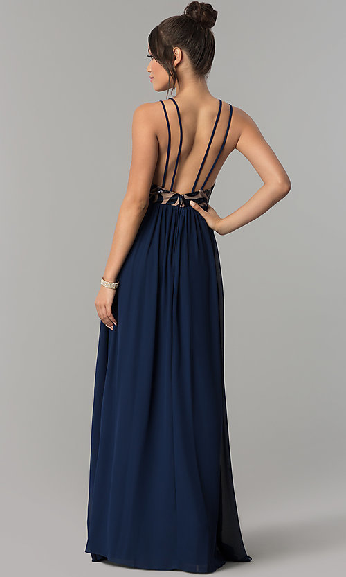 Image of long navy chiffon prom dress with flocked bodice. Style: CT-8102GE3ATP Back Image
