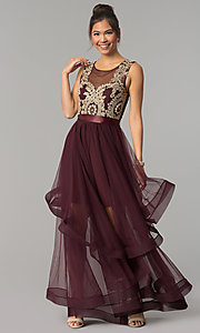Image of dark burgundy red tulle City Triangles prom dress. Style: CT-8145RM2CTP Front Image