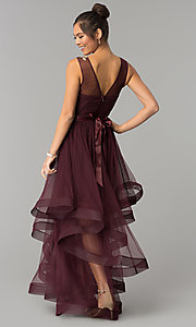 Image of dark burgundy red tulle City Triangles prom dress. Style: CT-8145RM2CTP Back Image