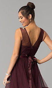 Image of dark burgundy red tulle City Triangles prom dress. Style: CT-8145RM2CTP Detail Image 2