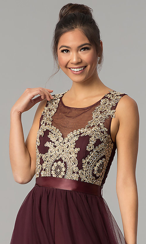 Image of dark burgundy red tulle City Triangles prom dress. Style: CT-8145RM2CTP Detail Image 1