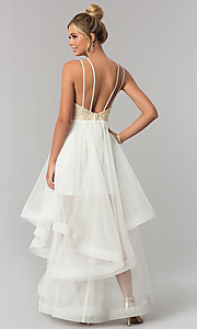 Image of open-back tiered-skirt City Triangles prom dress. Style: CT-8332GD3ATP Back Image