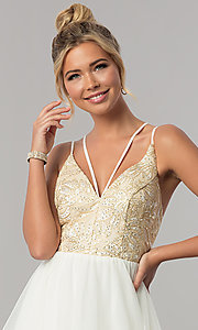 Image of open-back tiered-skirt City Triangles prom dress. Style: CT-8332GD3ATP Detail Image 1