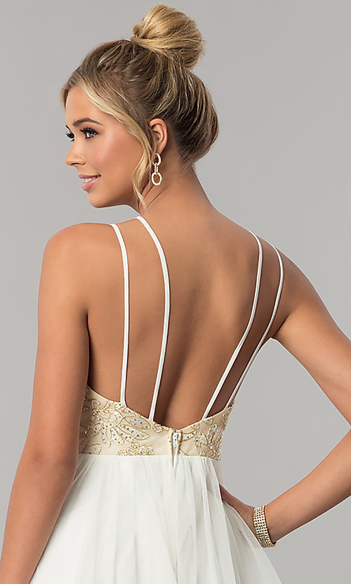 Image of open-back tiered-skirt City Triangles prom dress. Style: CT-8332GD3ATP Detail Image 2