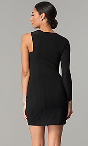 Image of asymmetrical short black wedding-guest dress. Style: BC-OOC62N80 Back Image