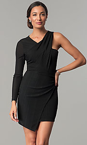 Image of asymmetrical short black wedding-guest dress. Style: BC-OOC62N80 Front Image