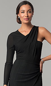 Image of asymmetrical short black wedding-guest dress. Style: BC-OOC62N80 Detail Image 1