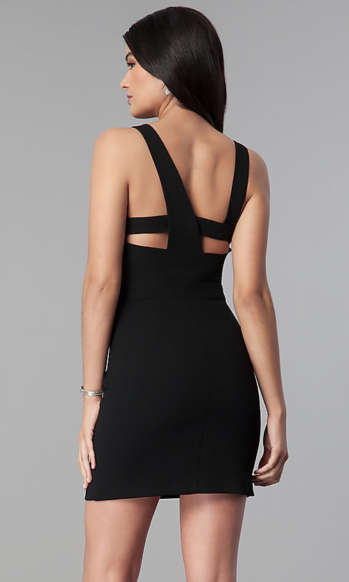 Image of short black wedding-guest party dress with cut outs. Style: BC-GEF65N66 Back Image